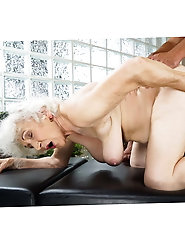 Sexy short-haired blonde granny