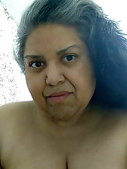 Grey hairy Hispanic granny