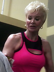 Sexy gym fit blonde granny
